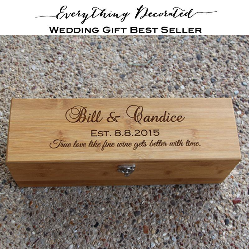 Wedding Wine Box Personalized Wooden Anniversary Custom Engraved Bamboo Gift