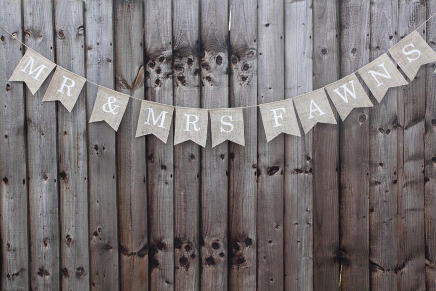 Mariage - Personalised Mr & Mrs wedding bunting banner, wedding photo prop