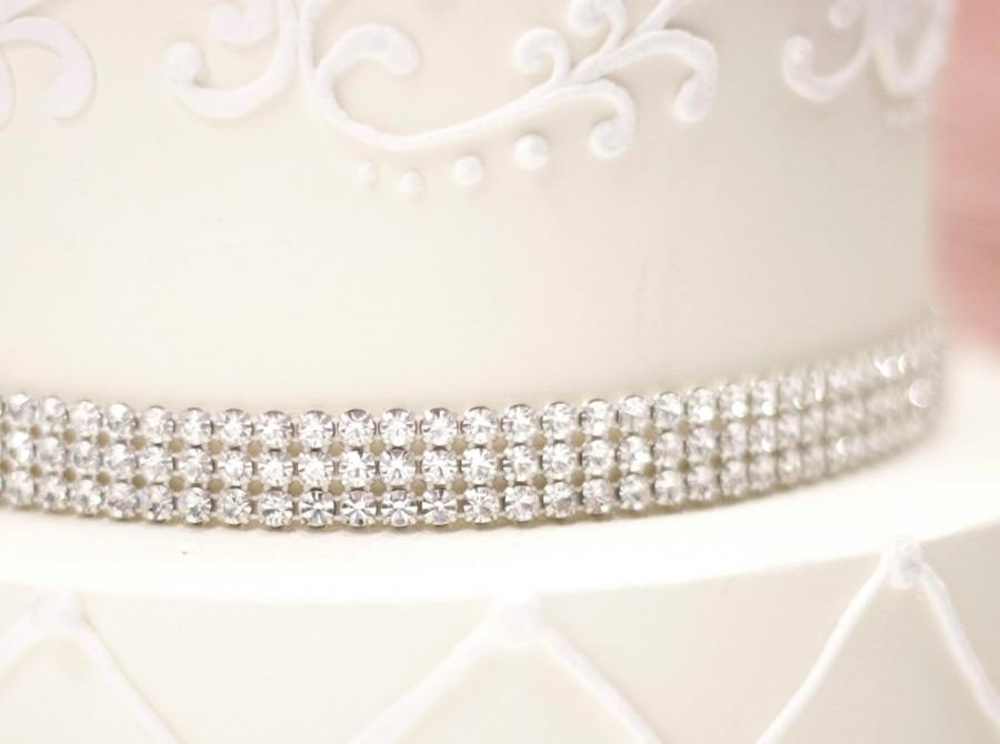 Mariage - Sparkle Silver or Gold Rhinestone Band/ wedding Cake decoration/ bridal bouquet decoration/ chair cover/ table linen accent/ wedding decor