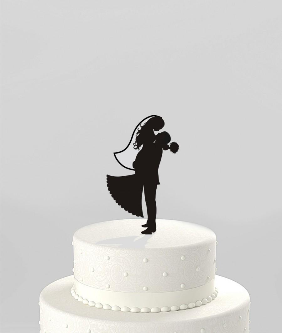 Hochzeit - Wedding Cake Topper Silhouette Groom Lifting his Bride, Acrylic Cake Topper [CT38v]