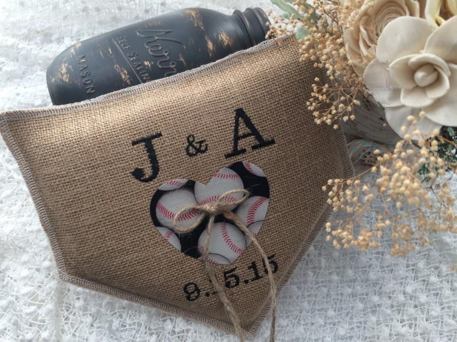 Mariage - Baseball wedding, Wedding ring bearer pillow, personalized, home plate shaped, black and white, burlap ring pillow, Product ID# 2014-028