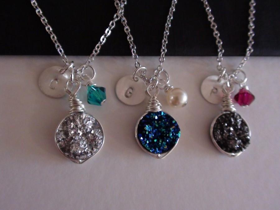 زفاف - 10% Off-Personalized Birthstone, initial Coin Disc, Wire Wrapped Drusy Druzy Quartz - Sterling Silver Necklace-Bridesmaids Gift