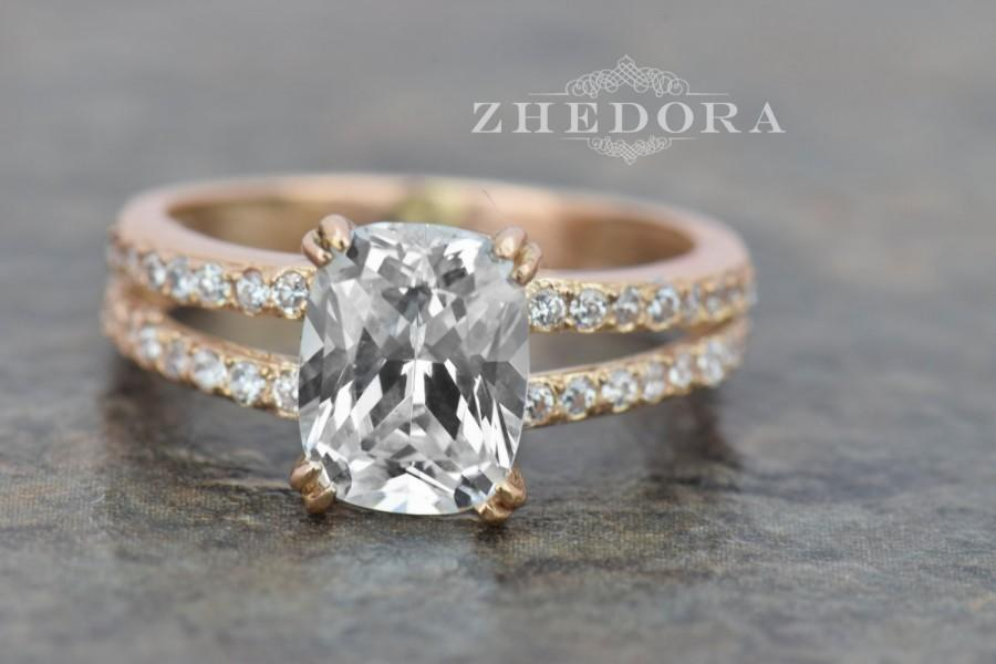 Mariage - 3.25 CT Rose Gold Bridal Engagement Ring With Cushion Cut Stone Solid 14K or 18k Gold