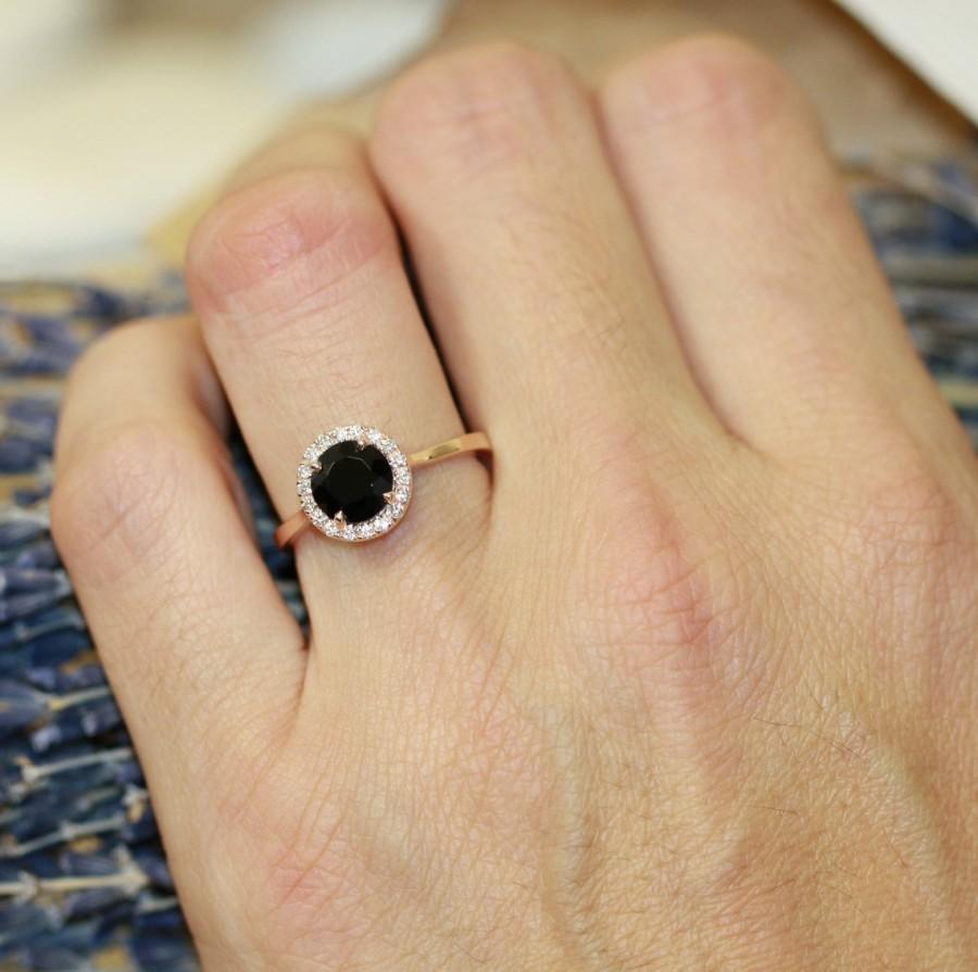 14k Rose Gold Halo Diamond Engagement Ring With 7x7mm Black Spinel