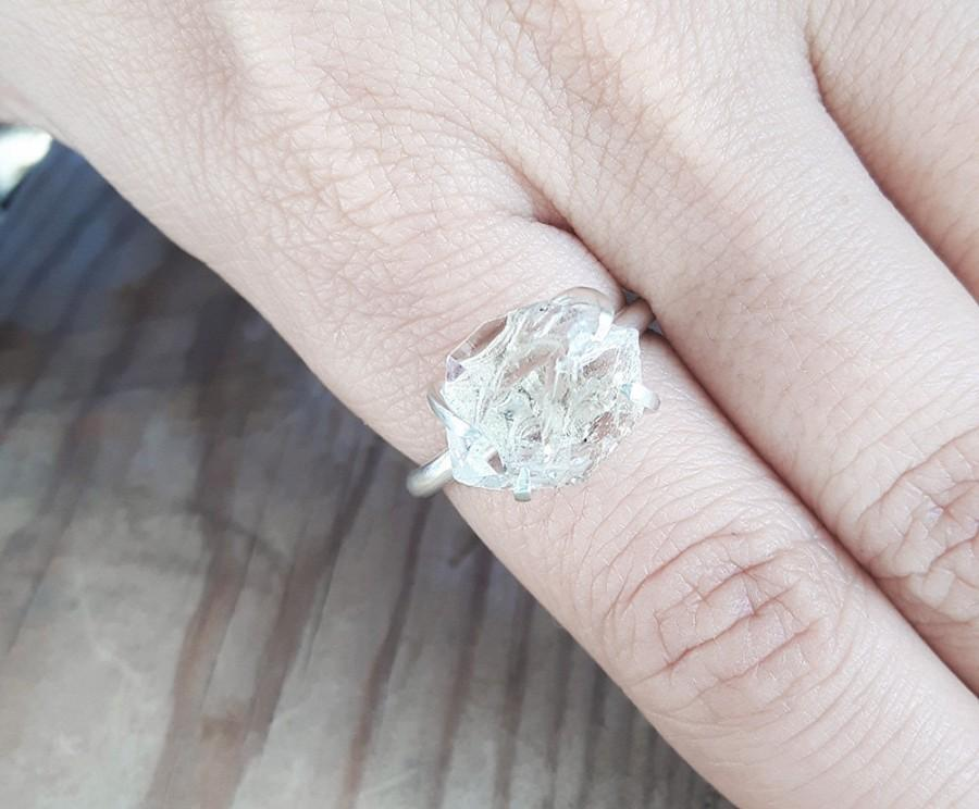 Mariage - Herkimer diamond and sterling silver solitaire ring. Quartz crystal ring. Recycled jewelry