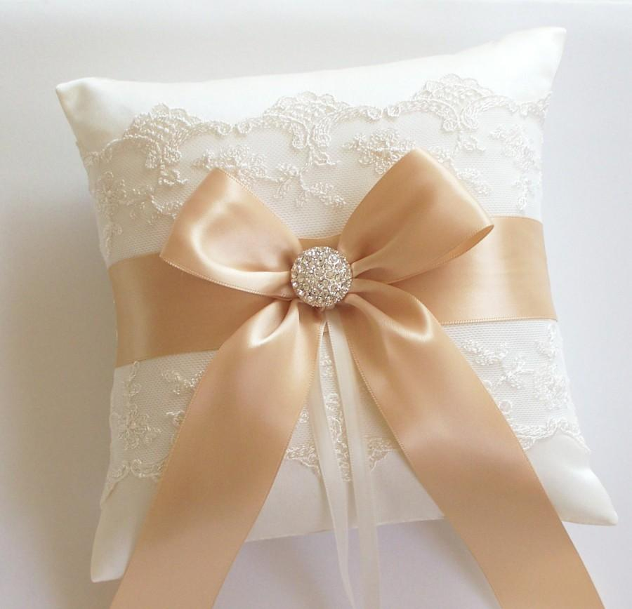 Hochzeit - Wedding Ring Pillow, Gold Ribbon Pillow, with Net Lace, Rhinestone Centered Satin Bow