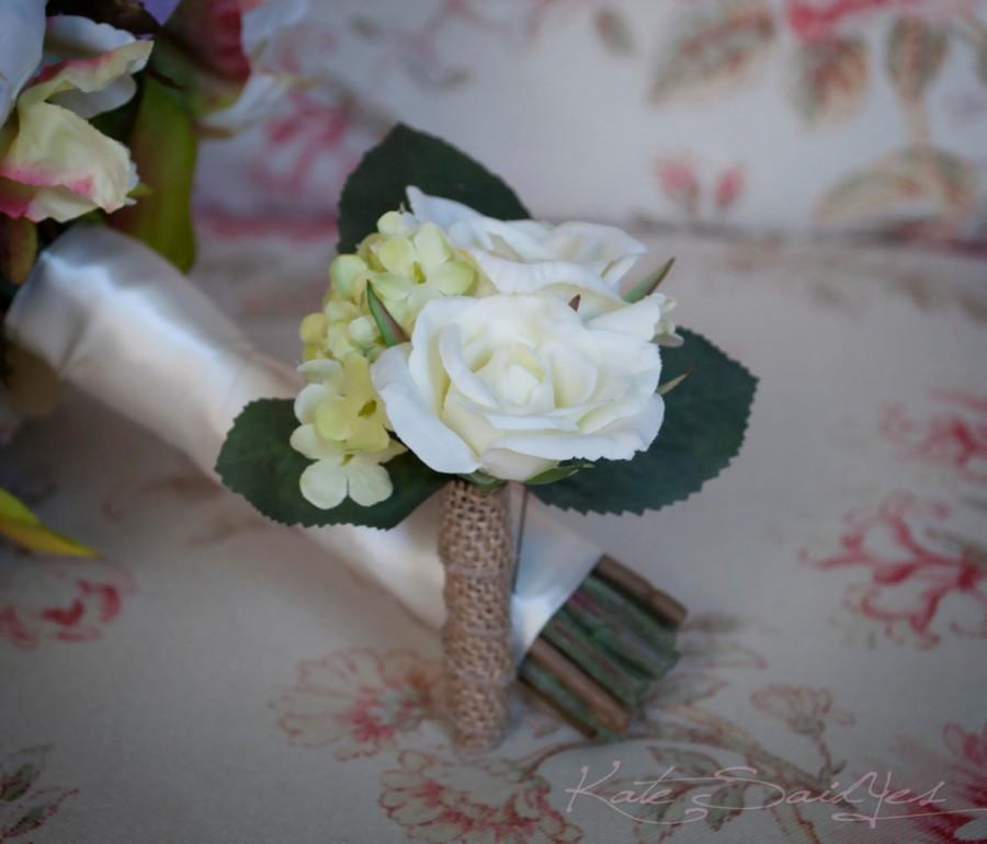 Mariage - Wedding Boutonniere Rustic Rose Hydrangea Wedding Boutonniere with Green Hydrangeas