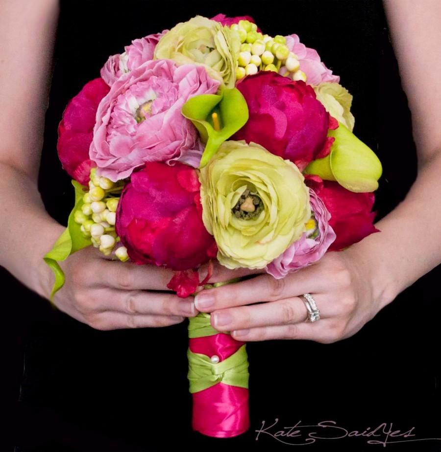 Wedding - Fuchsia and Lime Peony Ranunculus and Calla Lily Wedding Bouquet