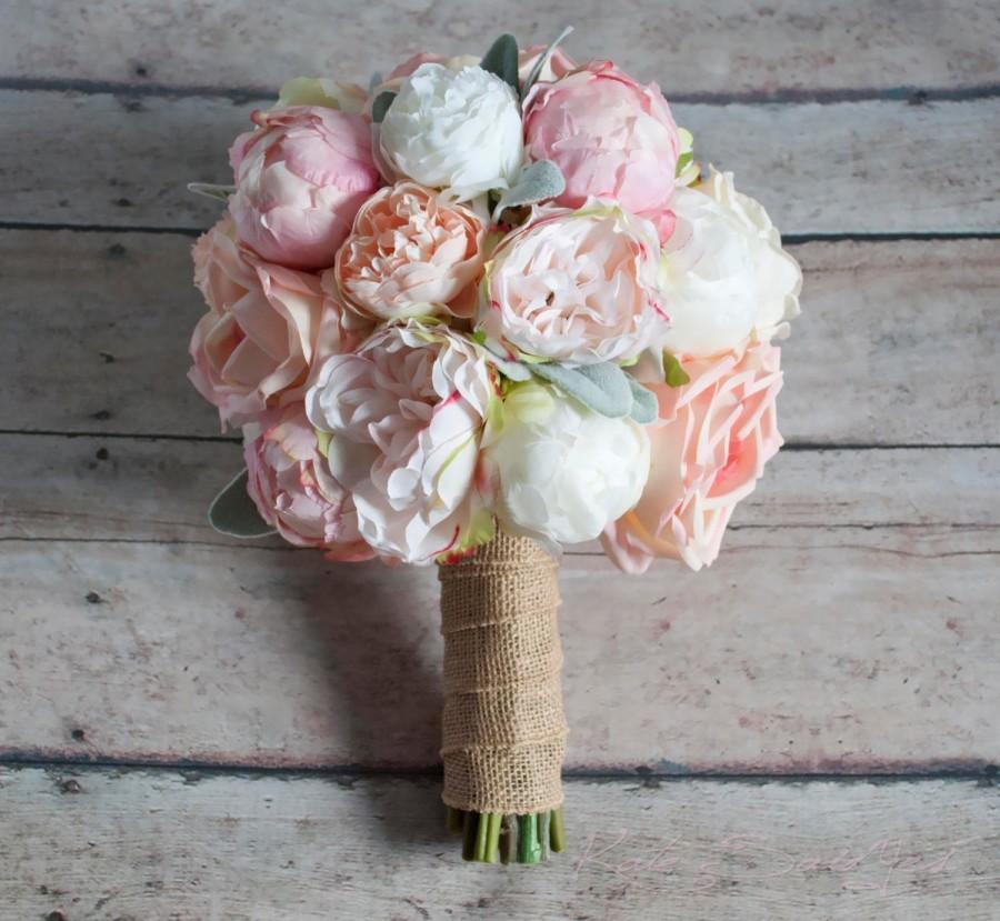 peach ivory and blush peony and garden rose wedding bouquet with lambs ear and burlap wrap - Garden Rose Bouquet