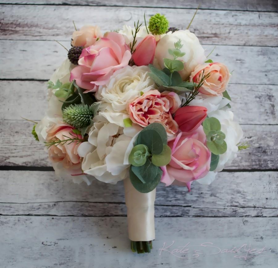 peony bouquet peony ranunculus rose garden wedding bouquet - Garden Rose And Peony Bouquet