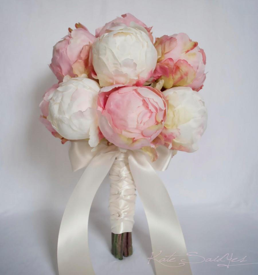 Hochzeit - Ivory and Blush Pink Peony Bud Wedding Bouquet - Peony Wedding Bouquet
