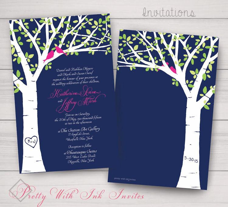 Mariage - Wedding, Shower, Engagement, Anniversary Invitations: Leafy Carved Tree, White Birch, Tree with Lovebirds. Samples/Printing/Digital Files