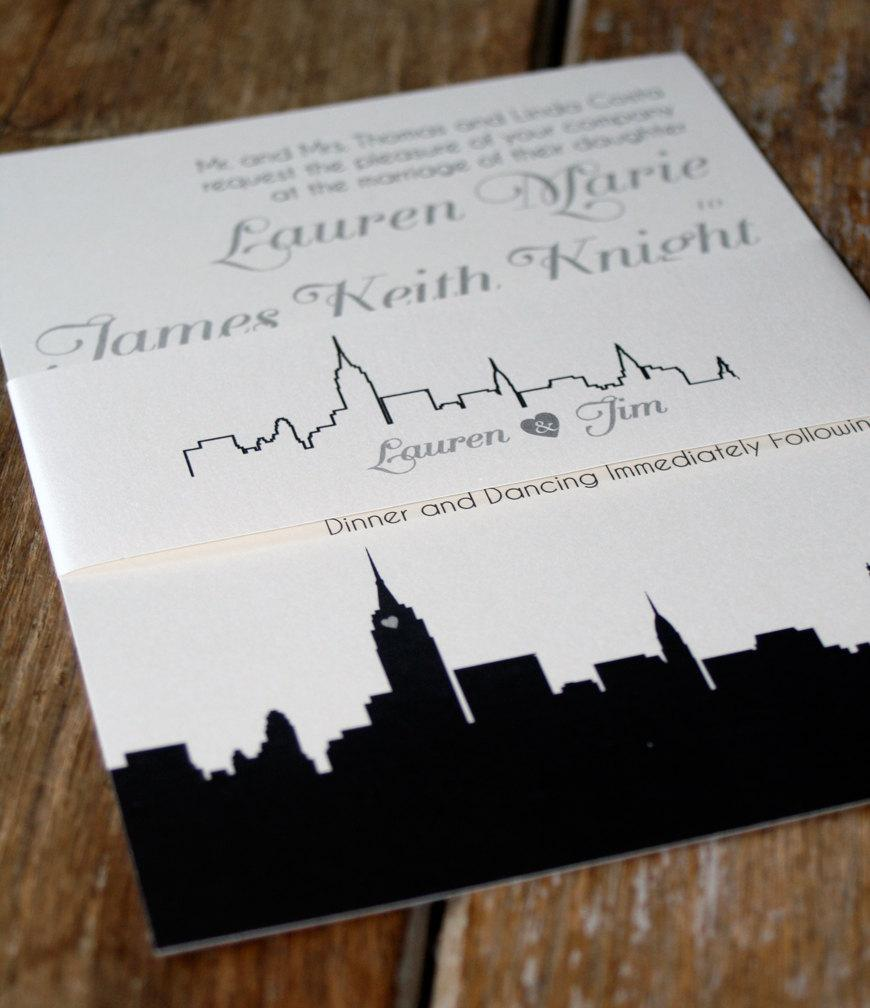 modern wedding invitation new york wedding invitationsskyline wedding invites nyc wedding invitesany city wedding invitationsnyc invite