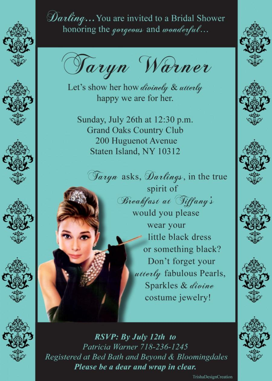 breakfast at tiffanys theme bridal shower invitation each with envelopes