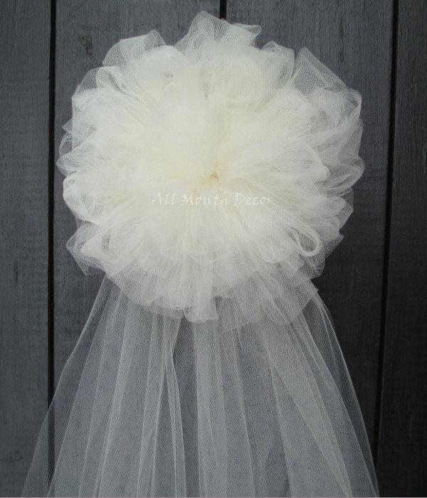Tulle Half Pom Wedding Pew Bow, White Ivory, Church Aisle Chair, Party, New Mom Bridal Baby ...