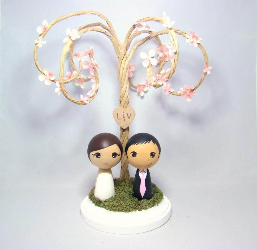 Custom Mini Kokeshi Wedding Cake Toppers With Cherry Blossom Tree
