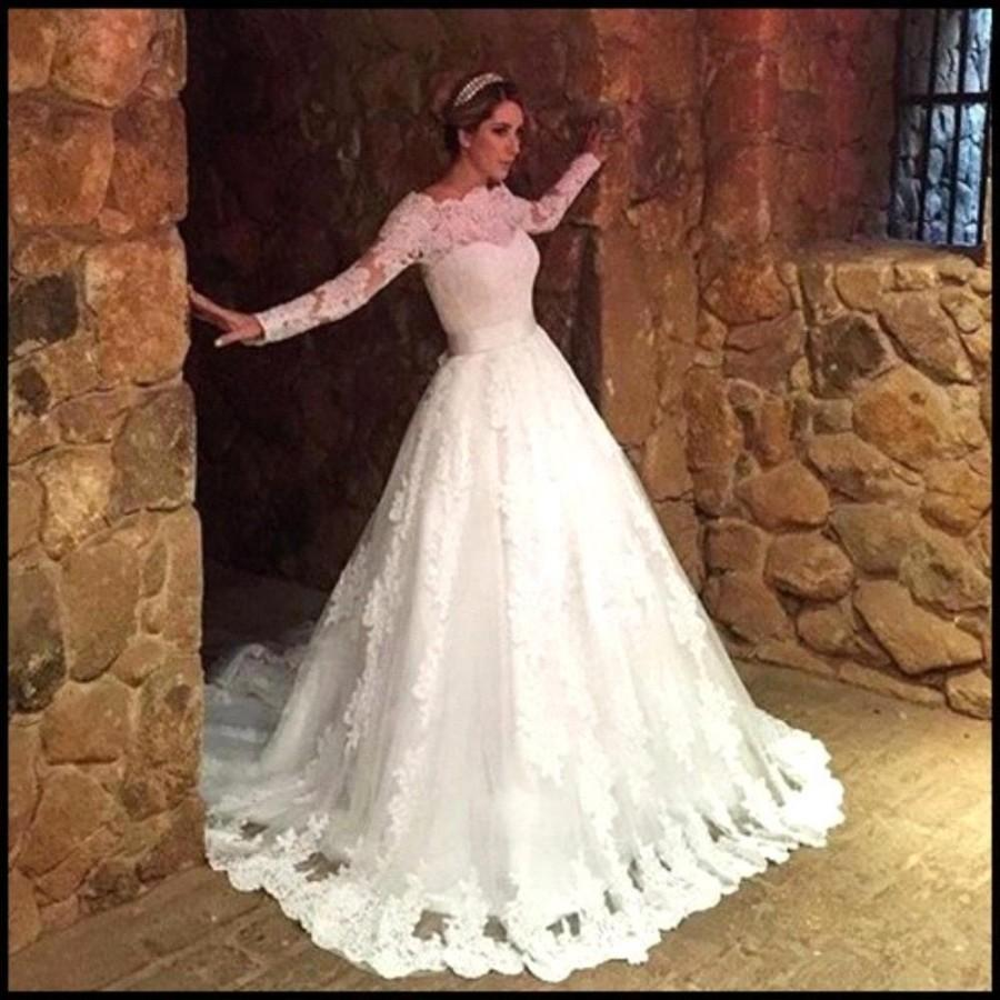 Mariage - Modest Lace Wedding Dresses Long Sleeves Bateau Women Church Illusion Winter 2016 Bridal Ball Gown Bow Belt Appliques Tulle Robe De Mariage Online with $123.56/Piece on Hjklp88's Store