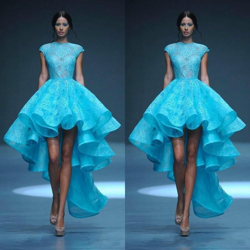 Short Chic Michael Cinco High Low Wedding Dresses Jewel Neckline ...