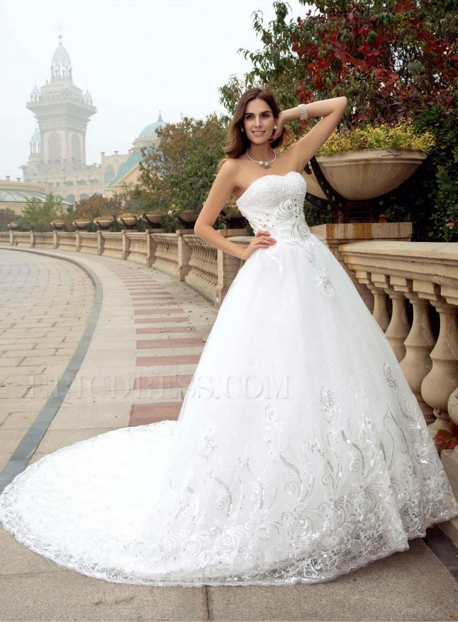 Shining Wedding Dresses 2016 Sweetheart Lace Applique Sequins Beads ...