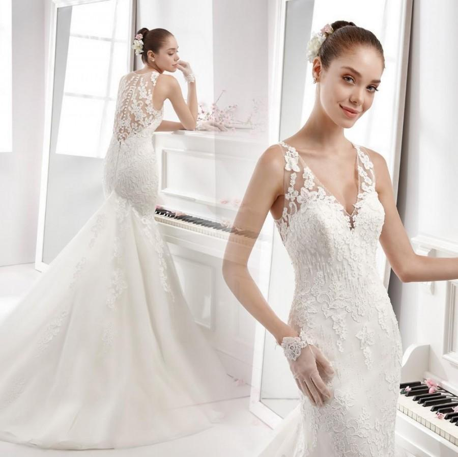 f2986de4ca Stunning V Neck Wedding Dresses Lace Illusion Sheer Appliqued Bridal Bridal  Gown Beading Button Back Mermaid 2016 Vestidos De Noiva Online with ...