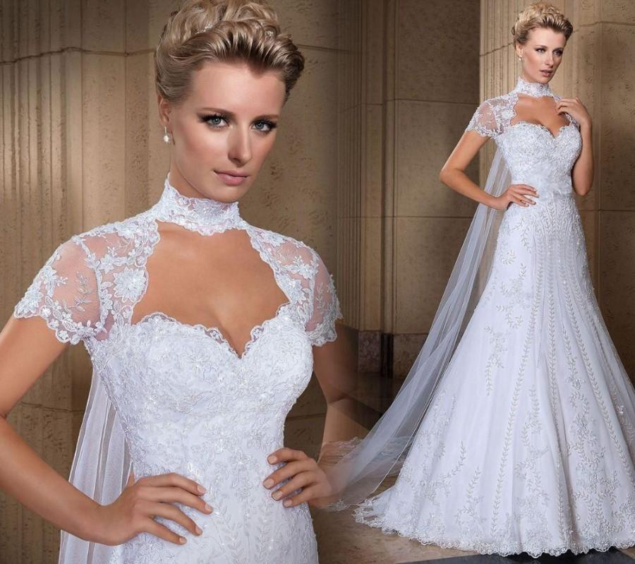 0b8e8e68ba New Arrival 2016 Mermaid Wedding Dresses With Hollow Back Sweetheart Neck Short  Sleeve Chapel Train Beads Lace Sequins Bridal Gowns Online with ...