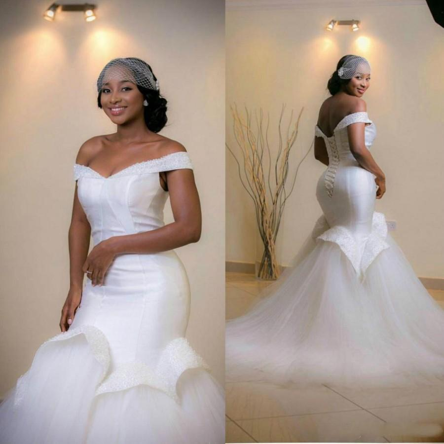 76bc4c89e4cc Elegant Off Shoulder Mermaid Wedding Dresses 2016 Ruffle Sleeveless Beads  Arab Bridal Dress Sweep Train Real Image Lace Up Wedding Gowns Online with  ...