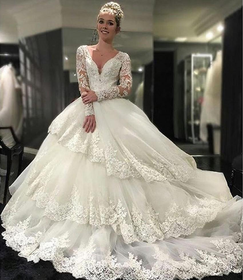 Ball Gown Wedding Dresses With Long Sleeves : Appliques wedding dresses tiers long sleeves white lace ball gown