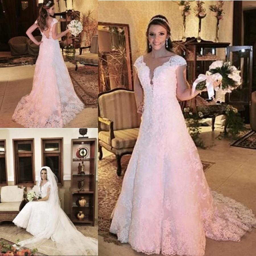 Sexy V Neck  White Lace Wedding Dresses Sleeveless Applique Open Back Arabic A Line Bridal Ball Gowns Plus Size Custom Made Online With   Piece On