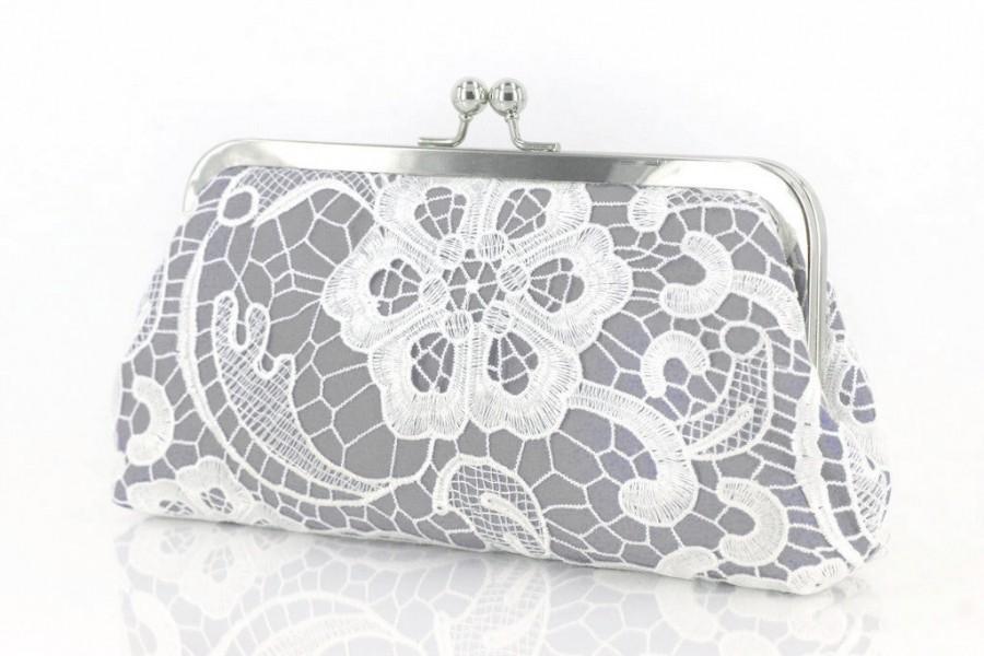 زفاف - Personalized Gift, Bridesmaid Gift, White Lace Bridal Clutch in Ash Gray 8-inch L'HERITAGE etsygift
