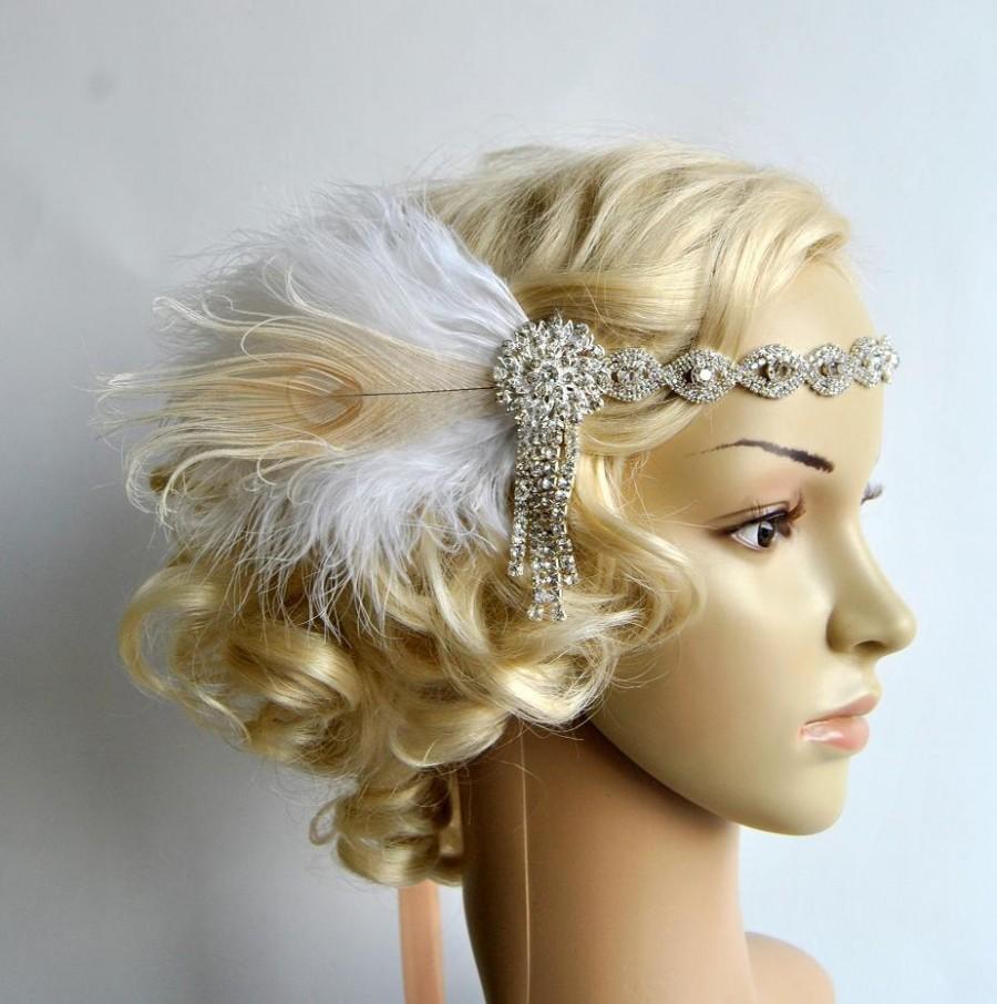 Свадьба - Art deco 1920s design, The Great Gatsby flapper, bridal fascinator 1920's, 1930's, Feather rhinestone crystal headband, wedding headpiece
