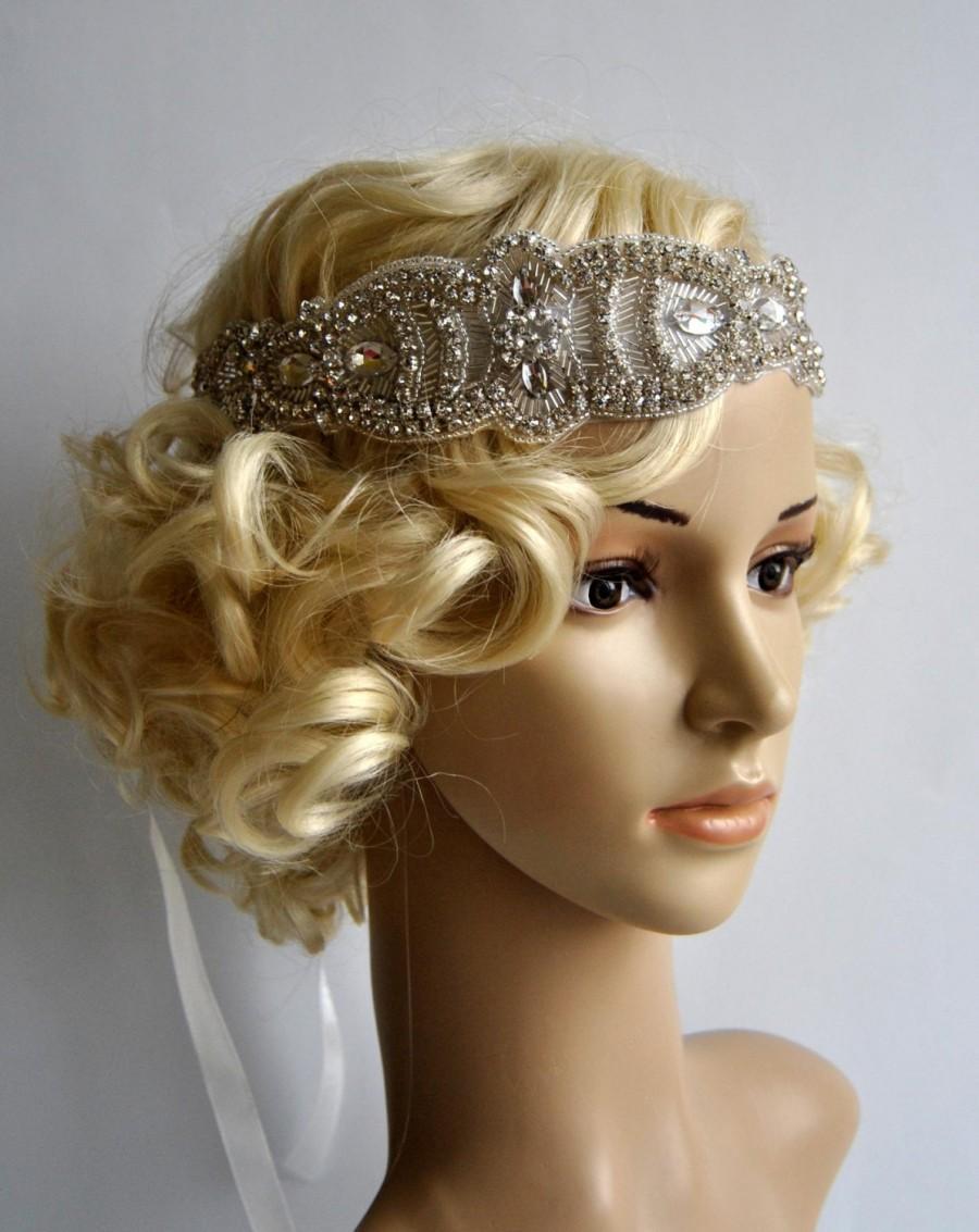 Свадьба - Glamour Rhinestone flapper Gatsby Headband, Wedding Crystal Bridal Headband, Wedding Headpiece, Bridal Headpiece, 1920s Flapper headband