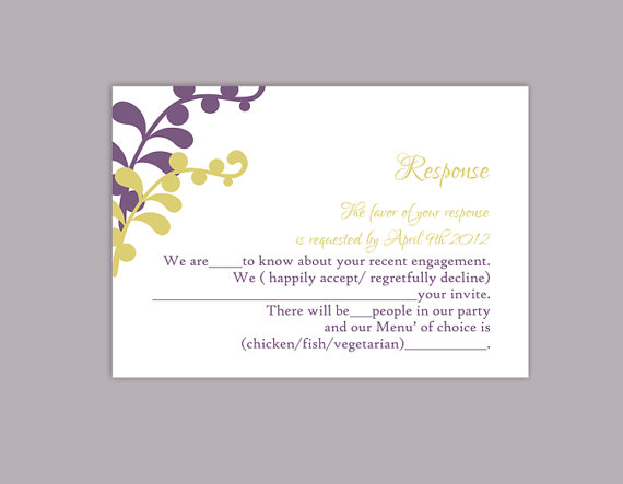 Mariage - DIY Wedding RSVP Template Editable Text Word File Download Printable RSVP Cards Leaf Rsvp Violet Rsvp Card Template Olive Green Rsvp Card