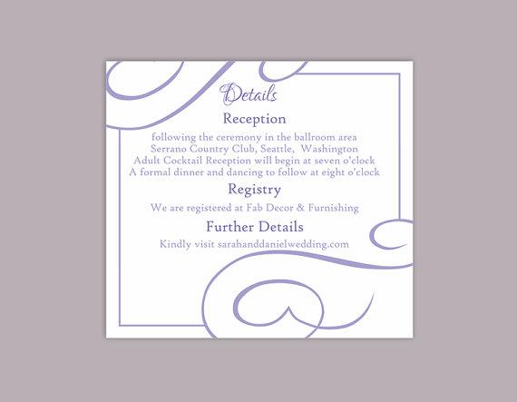 Wedding - DIY Wedding Details Card Template Editable Text Word File Download Printable Details Card Purple Lavendar Details Card Enclosure Cards