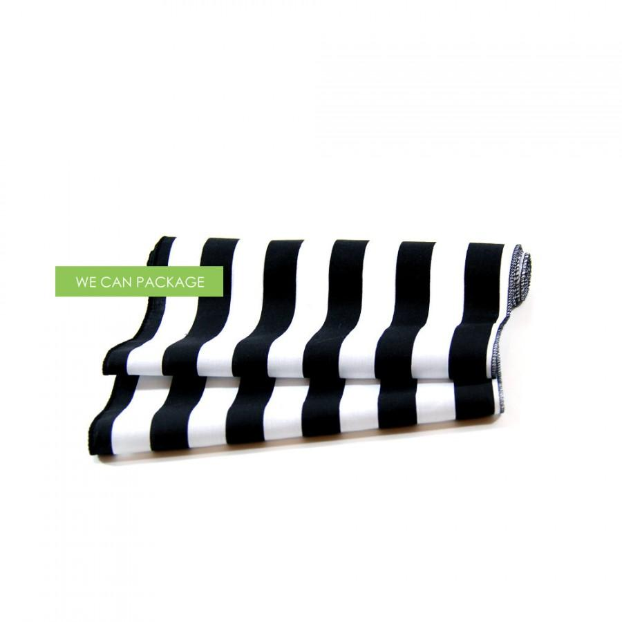 """Mariage - Black and White Striped Table Runner 12"""" x 96"""""""