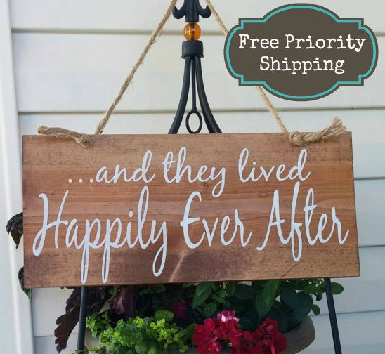 Свадьба - And they lived happily ever after Sign - Wedding Sign -Bride Signs - Ring bearer Sign - Country wedding Sign - Wedding decor - wedding decor