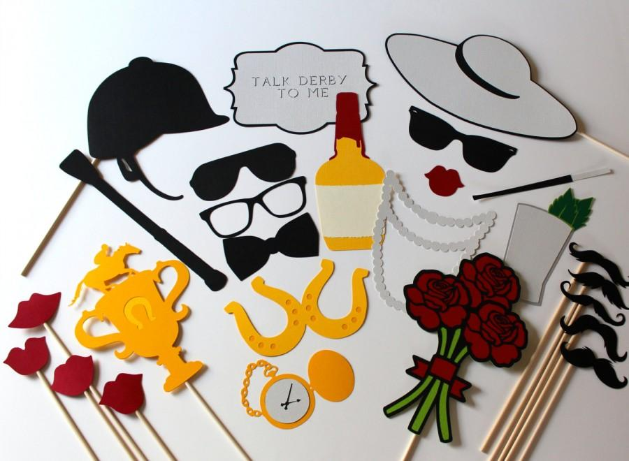 Свадьба - Kentucky Derby Photo Booth Props - Horse Racing Photobooth Prop Set of 26 includes Roses, Trophy, Jockey Hat, Mint Julep, Bourbon, and Horse