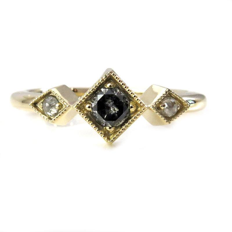 Mariage - Salt + Pepper Right Hand Ring - Geometric Dainty Diamond Yellow Gold Engagement