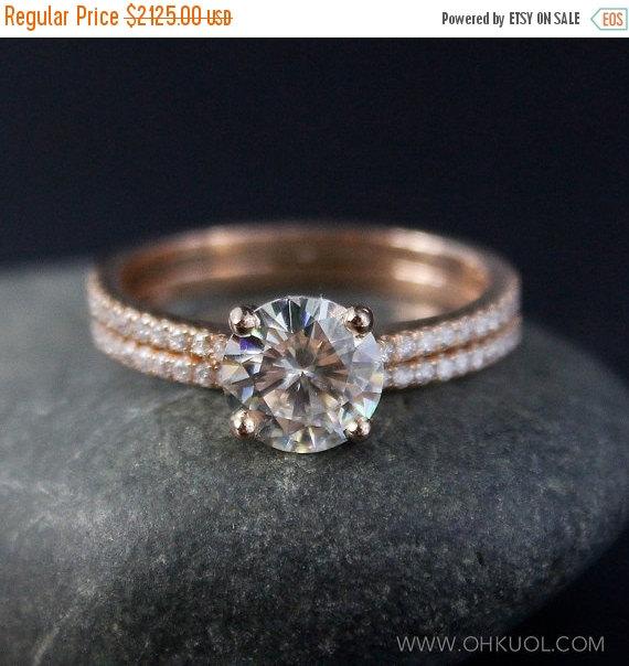Mariage - ON SALE Rose Gold Moissanite Engagement Ring – Forever Brilliant Moissanite - Half Eternity Band