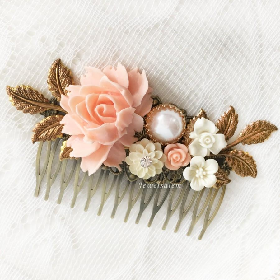 Свадьба - Pink Bridal Hair Comb Coral Wedding Hair Slide Blush Peach Romantic Headpiece Bridesmaid Hair Comb Maid of Honor Gift Pastel Pink Hair Pin