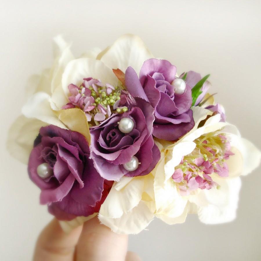 Свадьба - purple hair clip, bridal hair accessories, purple hair flower, ivory flower hair clip, floral hair comb, purple hair comb, cream flower