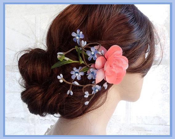 Mariage - floral hair clip, bridal hair piece, coral hair clip, blue hair flower, periwinkle blue hair accessory, bridal headpiece, wedding hair clip