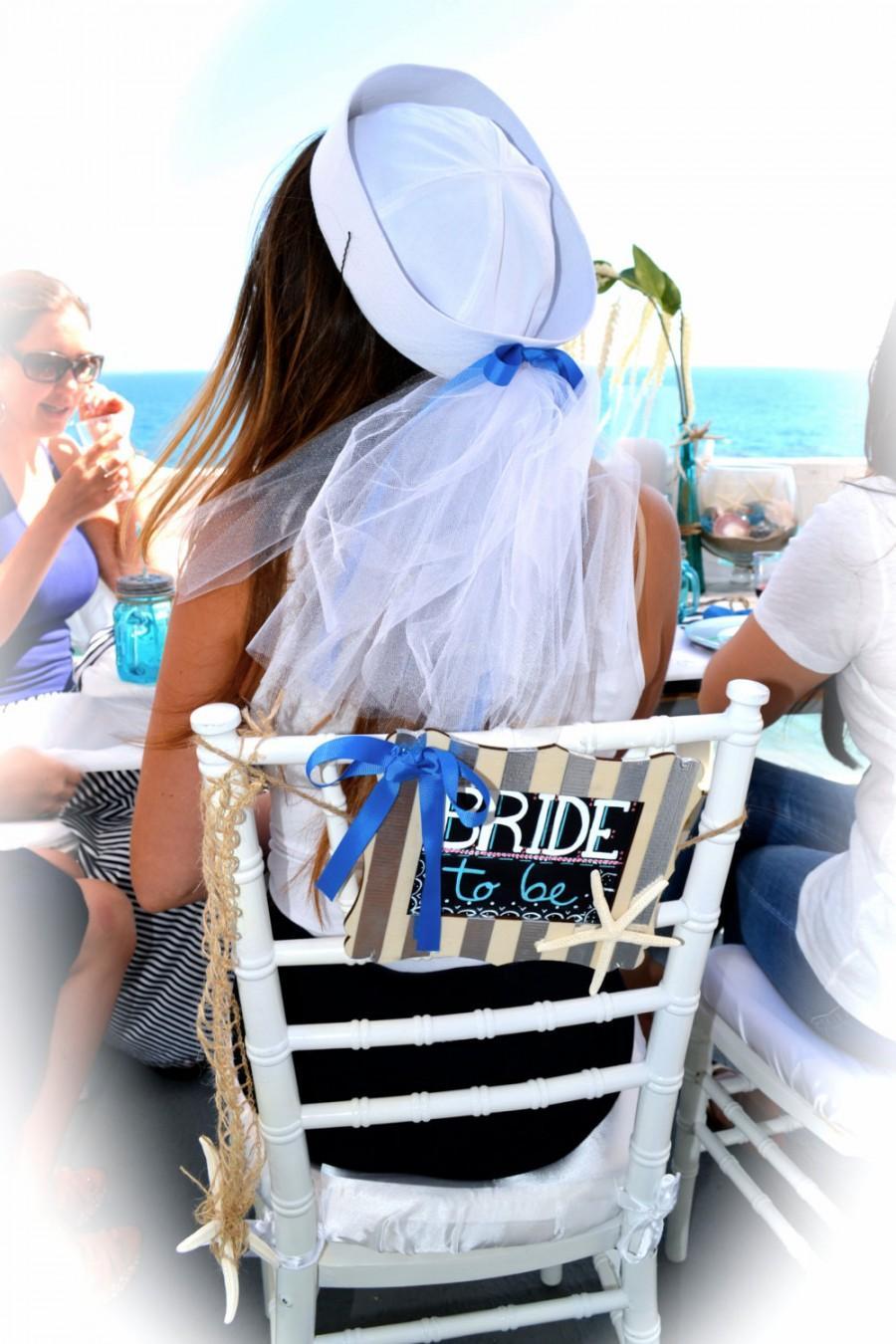 27d28b21c08 Nautical Bride Sailor hat with veil. Perfect for a nautical bridal shower  or bachelorette party