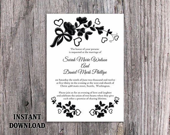 Diy Lace Wedding Invitation Template Editable Word File