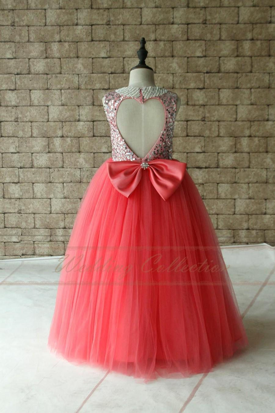 Mariage - Tutu Sequined Flower Girls Dress Light Coral Birthday Party Dress Pearl Neckline Floor Length
