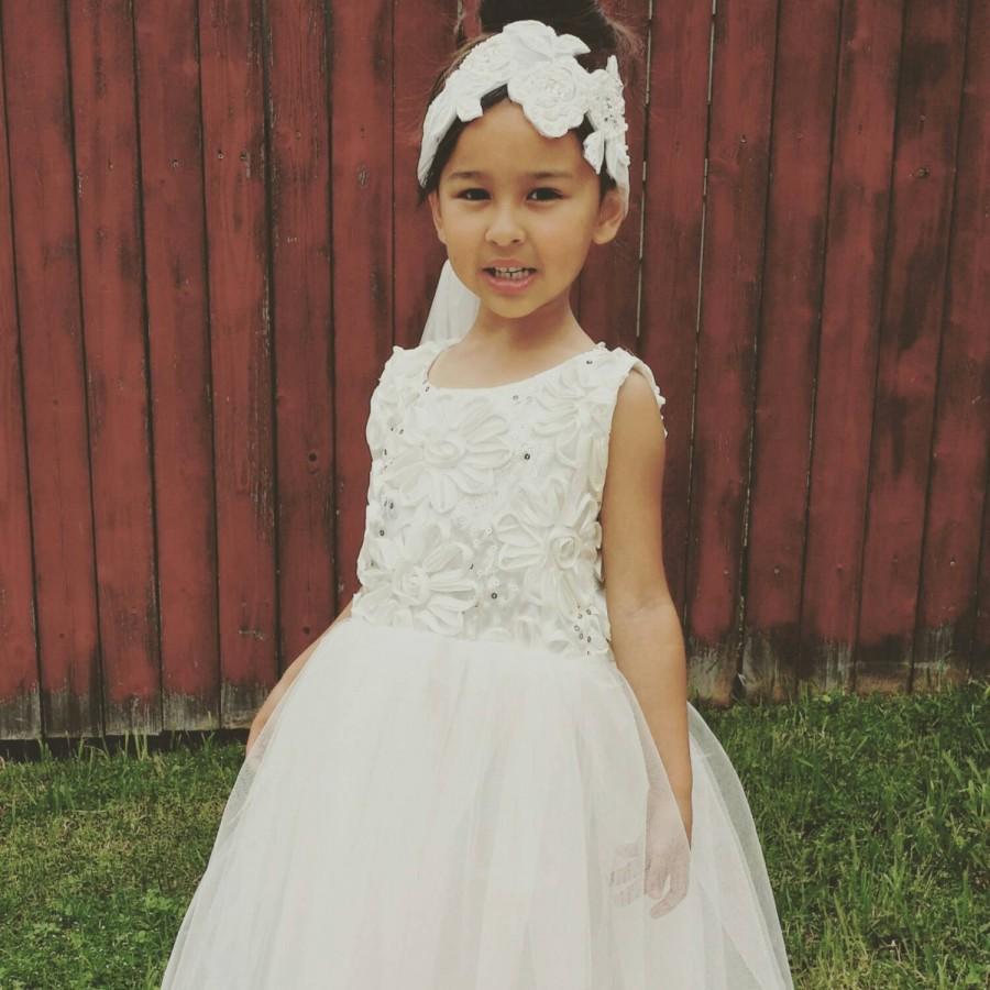Mariage - Ivory Flower girl dress for wedding