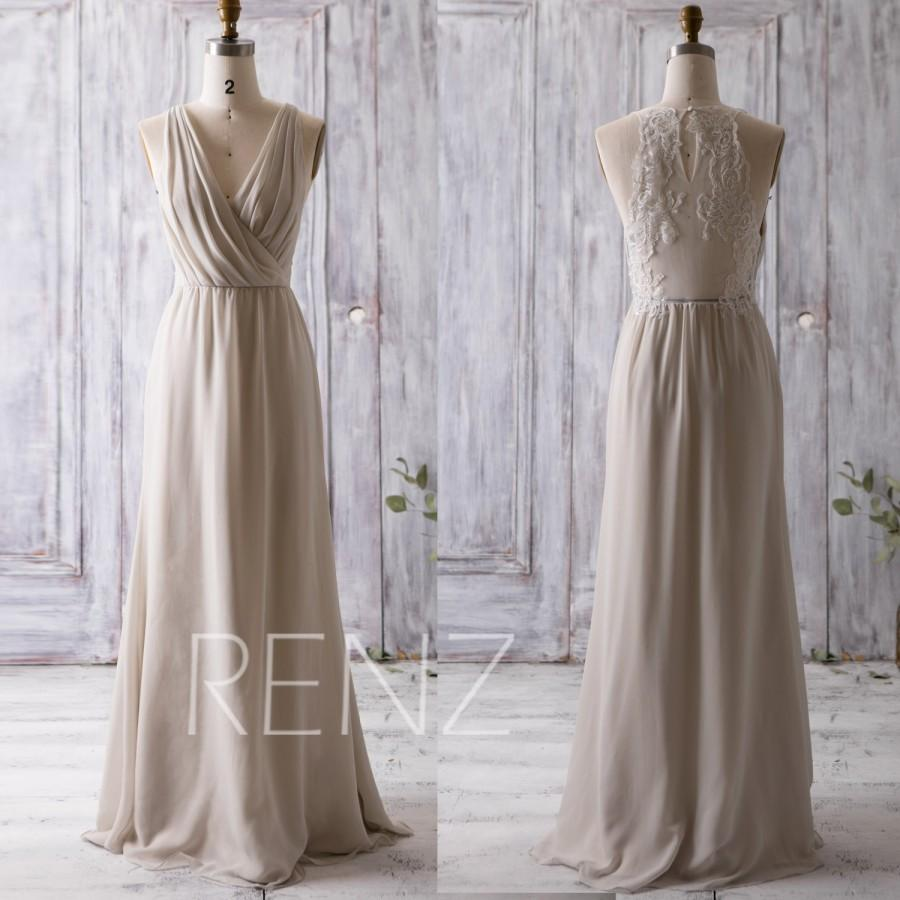 2016 beige bridesmaid dress long ruched v neck wedding for Lace maxi wedding dress