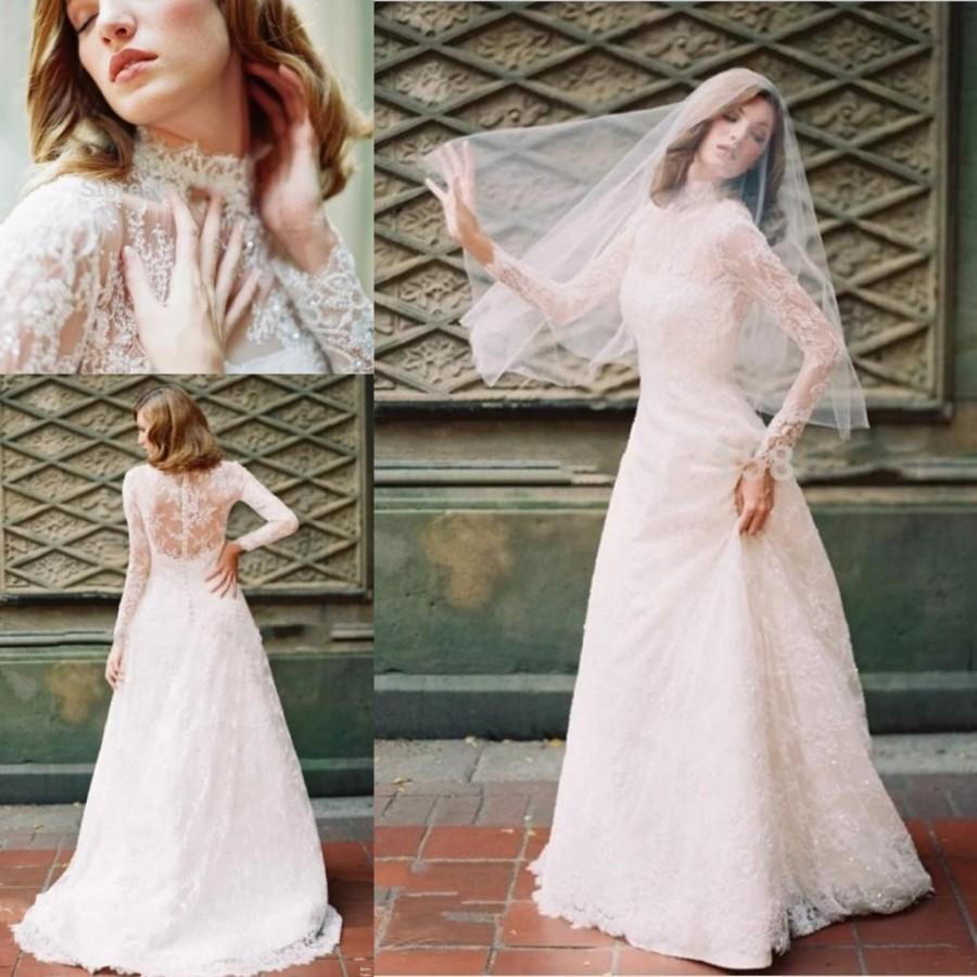 Winter illusion long sleeves 2016 white lace wedding for Wedding dress with illusion sleeves