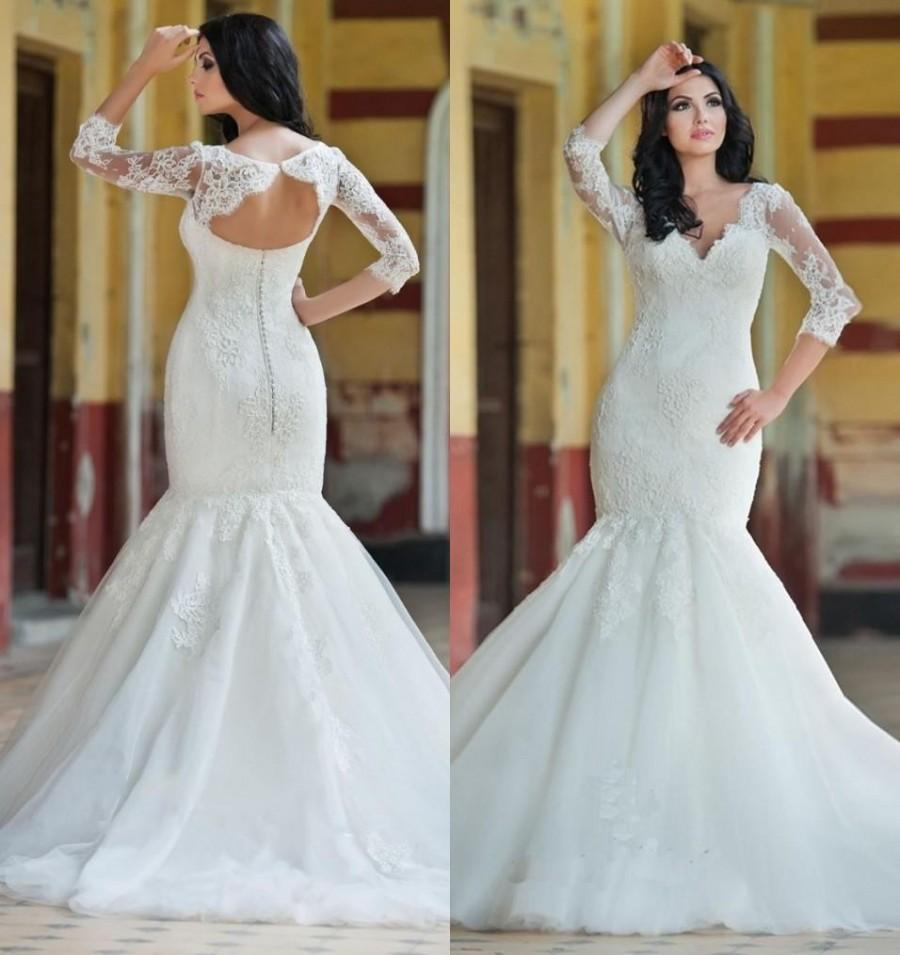 Princess lace mermaid style wedding dresses 2016 plus size princess lace mermaid style wedding dresses 2016 plus size illusion hollow arabic 34 long sleeves white bridal gowns dresses online with 10593piece on ombrellifo Image collections