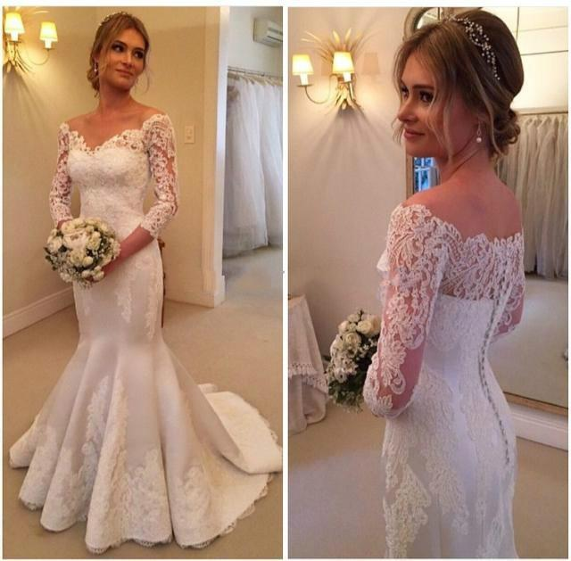 c09f359ea7cd7 Charming Long Sleeve 2016 Mermaid Wedding Dresses Sheer Illusion V-Neck  Full Lace Chapel Train Vintage Cheap Trumpet Bridal Gowns Dress Online with  ...