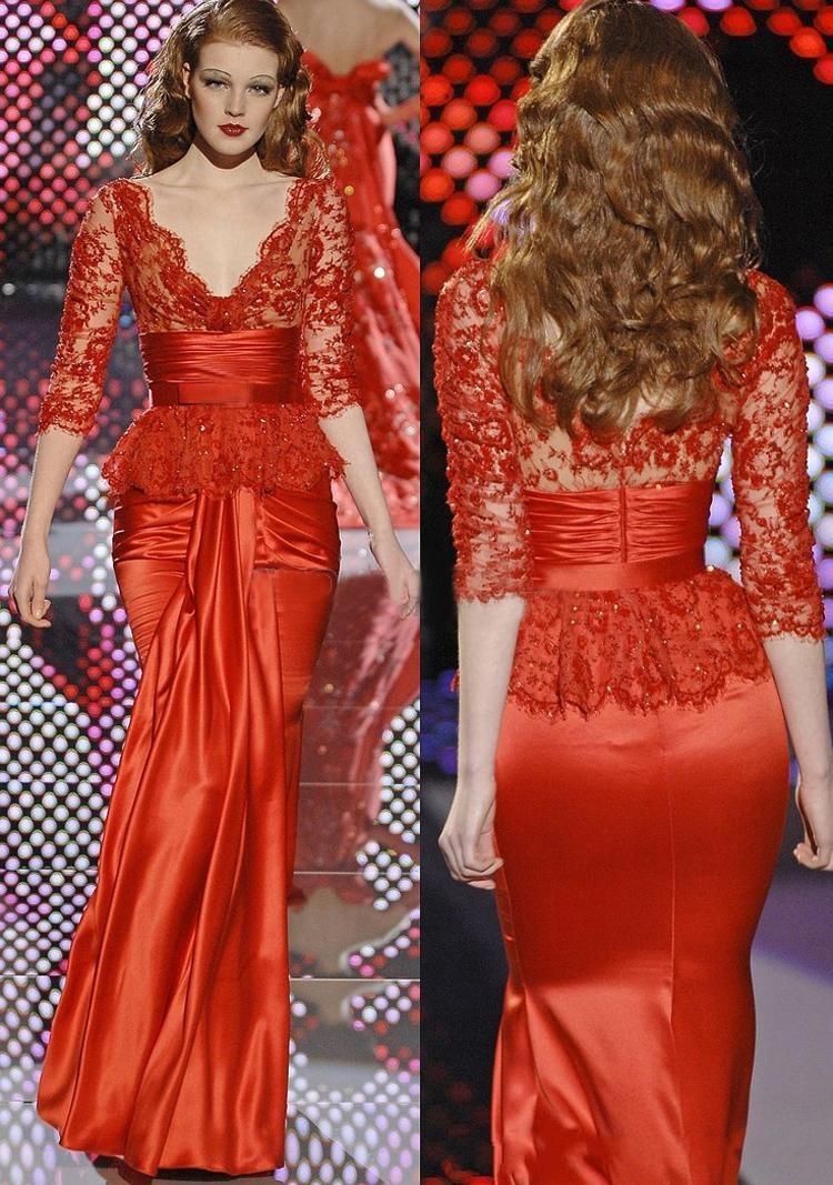 Red Zuhair Murd Mermaid Evening Dresses 3/4 Long Sleeves Lace ...